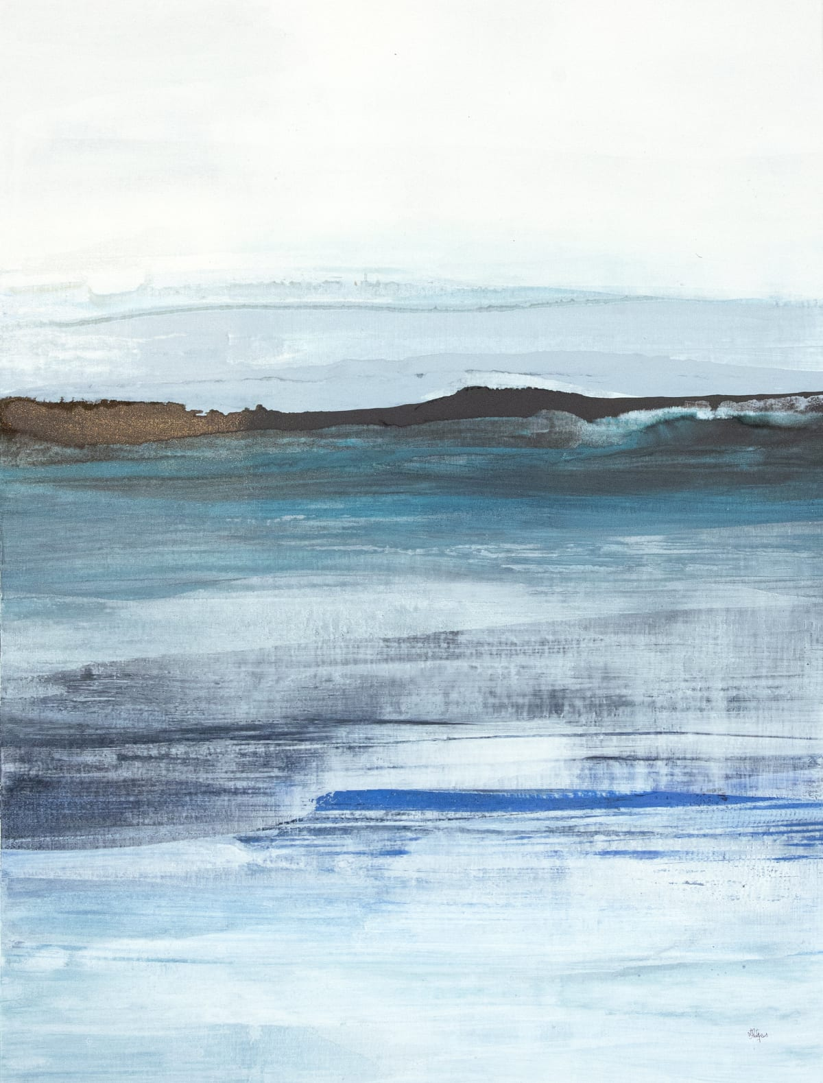 "Lisa Ridgers Cool Scape I Acrylic on Canvas 38"" x 50"" unframed 39.75 x 52"" framed"