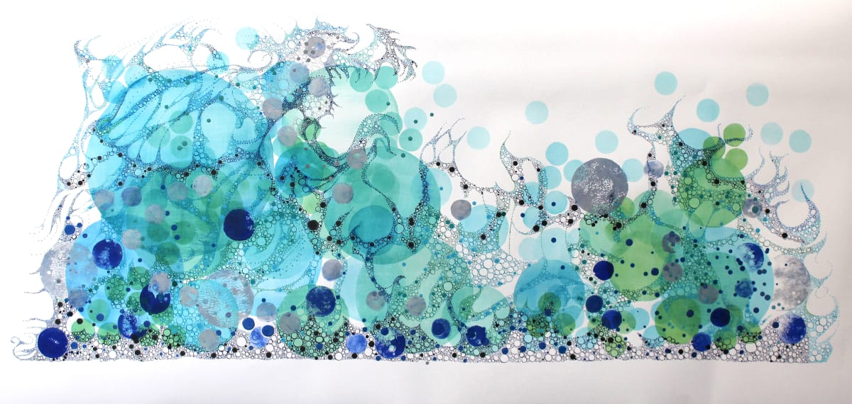 "Ruth Hamill Striving Intaglio and calligraphy inks, gouache and watercolor on paper 55 x 17"" unframed 61 x 32.5"" framed"