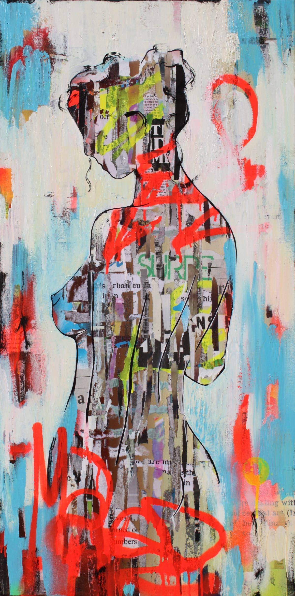 "Ridgers & Cobz Urban Girls II Acrylic on canvas 19.5"" x 39"" framed"