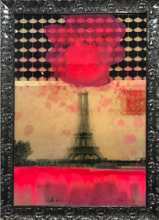 "Connie Noyes He Said: I am Bored In Paris. Mixed Media on Panel with Resin 39 x 54"" framed"