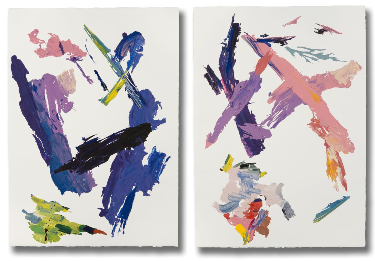 "Ginny Sykes Double X (Diptych) Acrylic and Collage on Paper Each panel is 29 x 41"" unframed"
