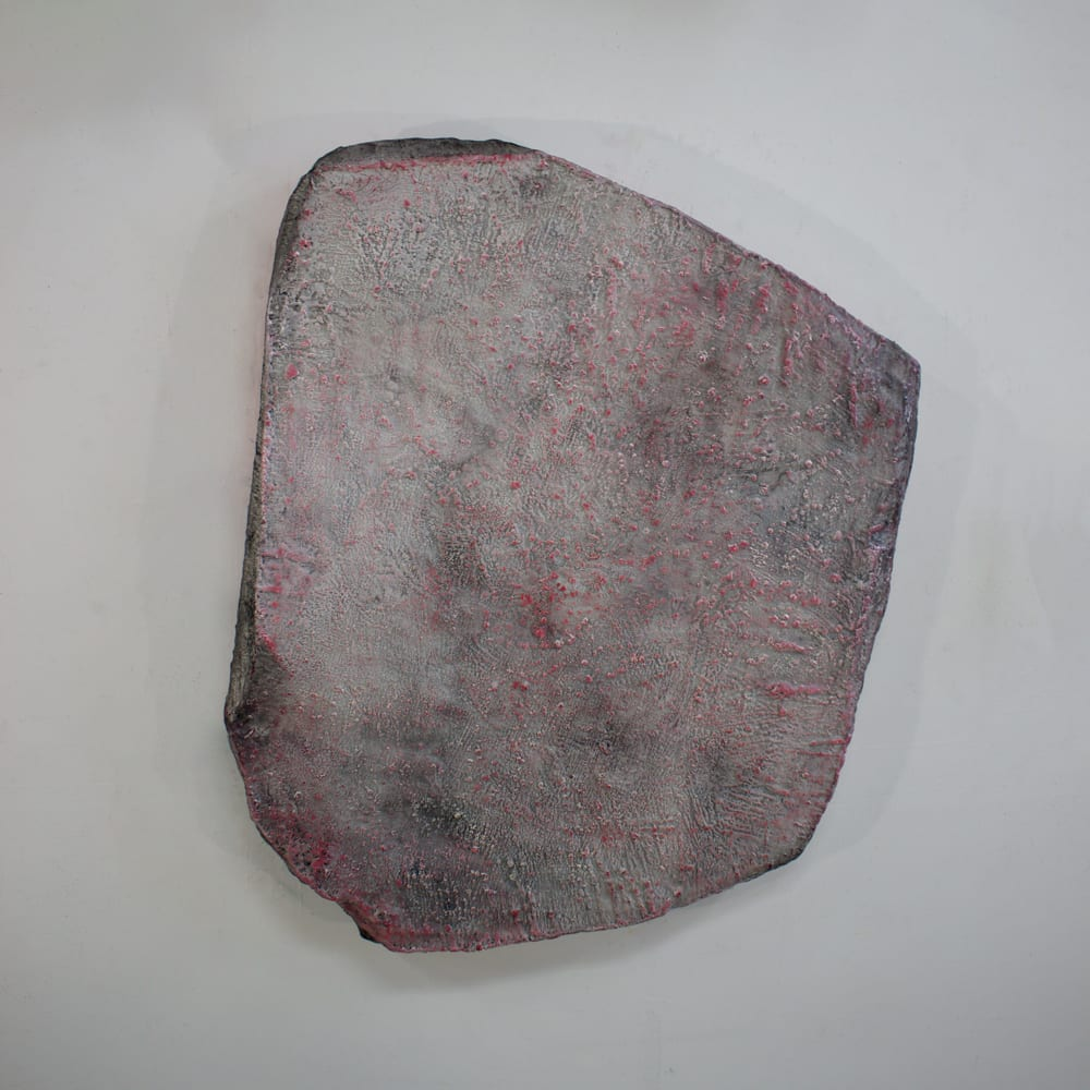 Ahavani Mullen Friendship with the Unknown No. 25, 2019 Encaustic, charcoal and oil on shaped canvas 31 x 27 x 4""