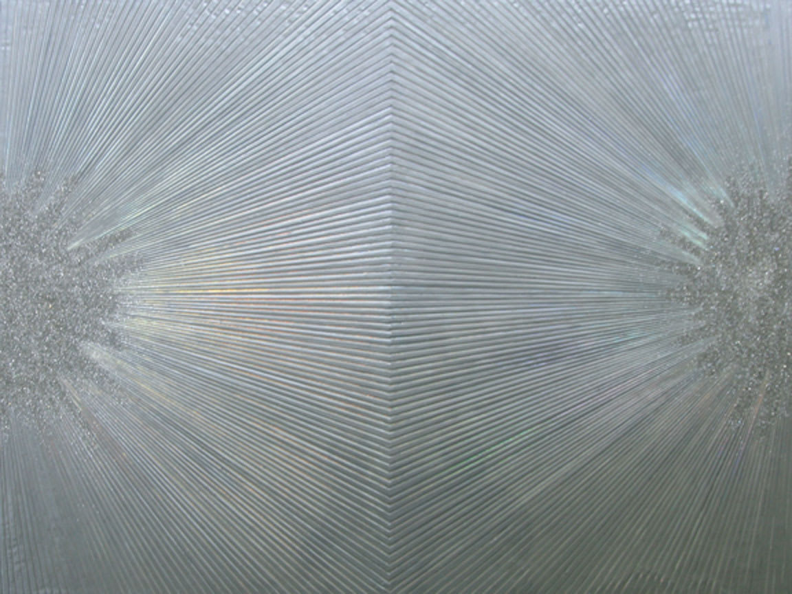 Sylvia Hommert Silver Bling Pigment, Beeswax, Holographic Paper, Glitter, and Resin on Birch Panel 40 x 30 unframed