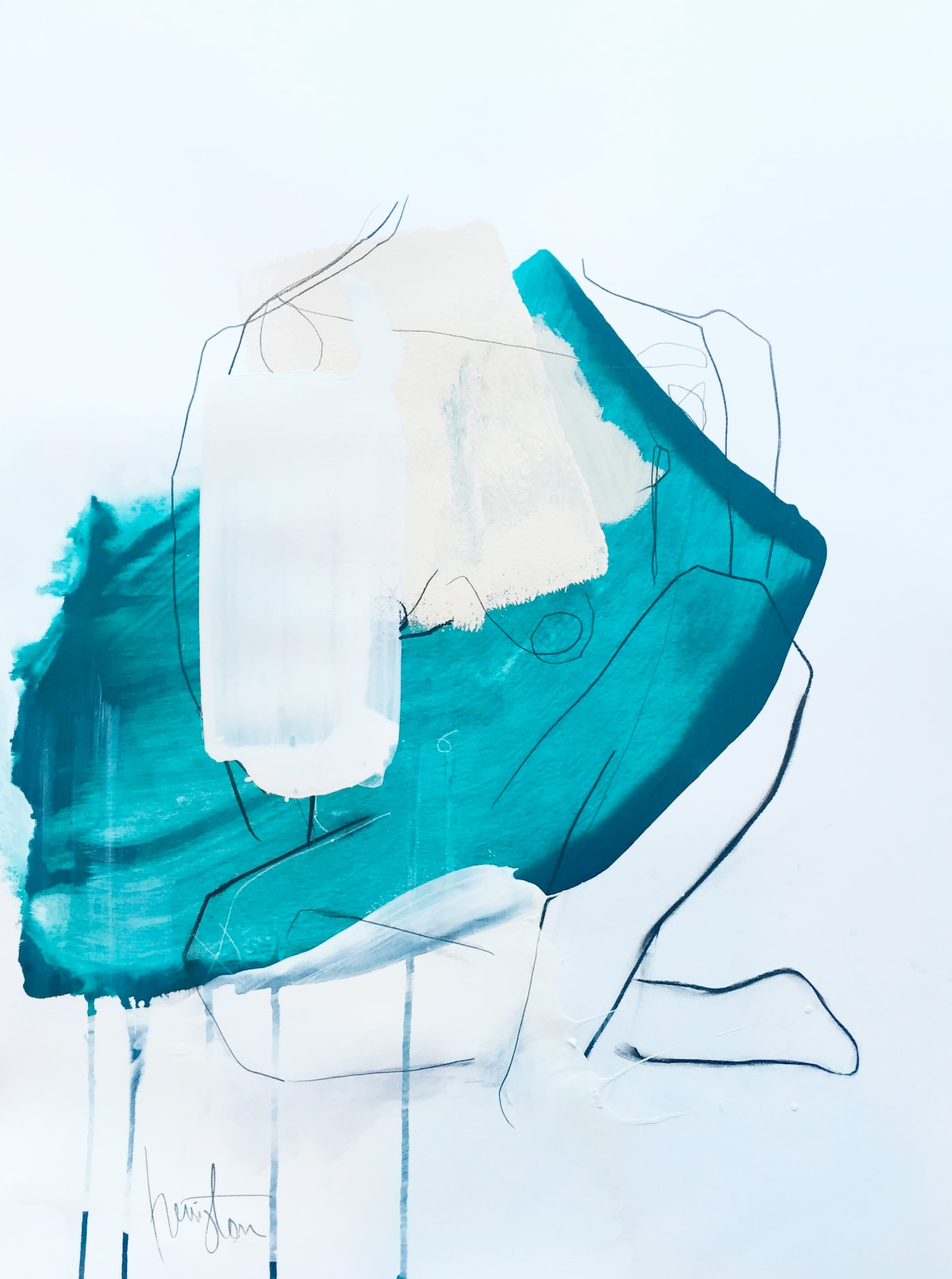 "Melissa Herrington Celestial Oceans of Aquas VI Mixed Media on Paper 18 x 24"" framed"