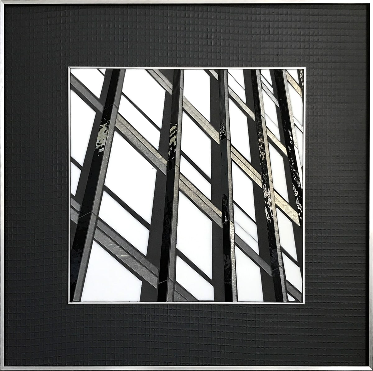 "Heather Hancock Reflect 2.13 (Mies) Glass/ Mixed Media 22 x 22"" framed"