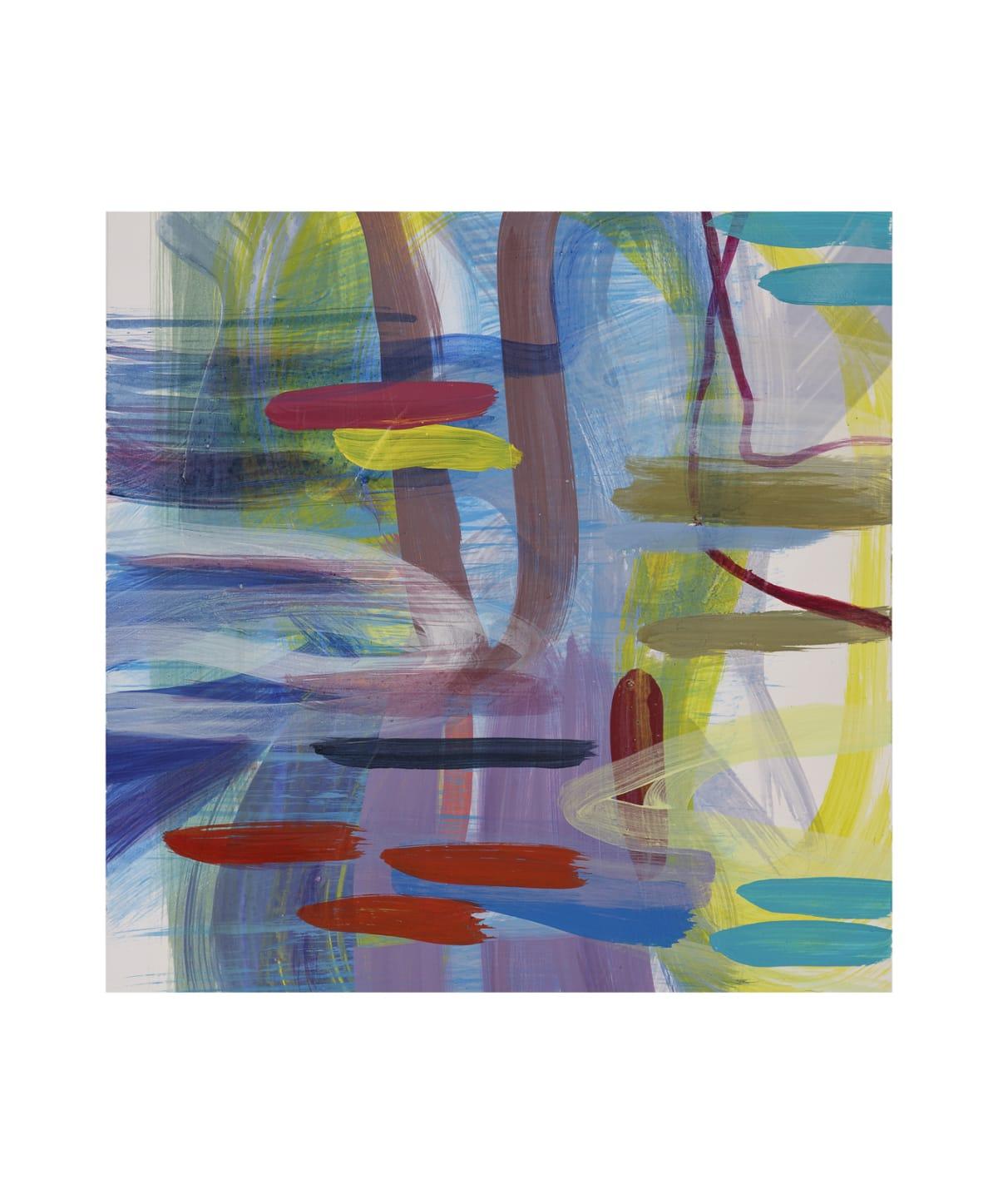 "Ginny Sykes Blues III Acrylic on paper 12 x 12 unframed, 22.5 x 27.5"" framed"