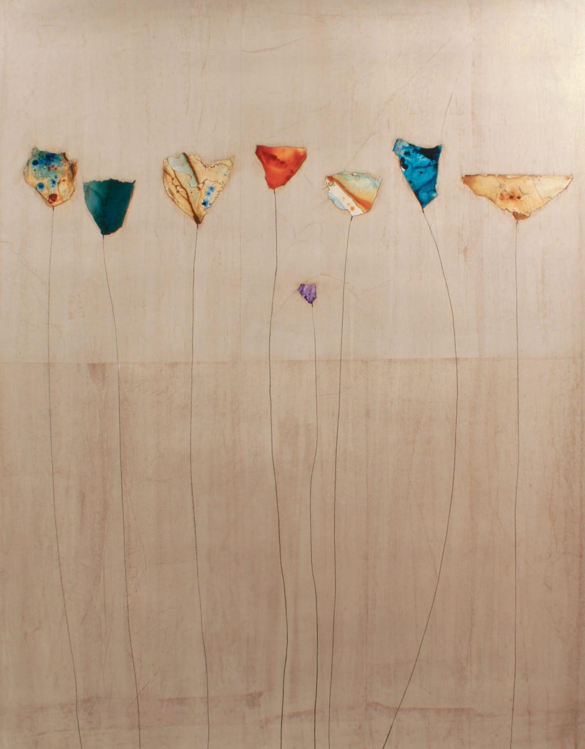 """Peter Kuttner Flourish Mixed media on canvas 50 x 64"""" unframed 51 x 65"""" framed"""