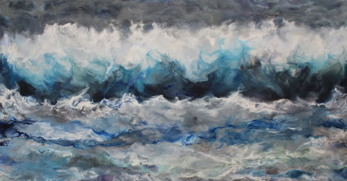 Ruth Hamill Ocean Encaustic on canvas 60 x 34 unframed