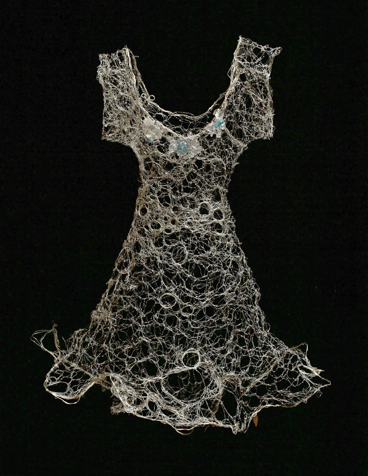 Susan Freda Tela Retis Woven Tin-Coated Copper Wire Dress with Cast Glass, Silver Leaf, Resin and Silver Metal Powder 27 x 26 unframed