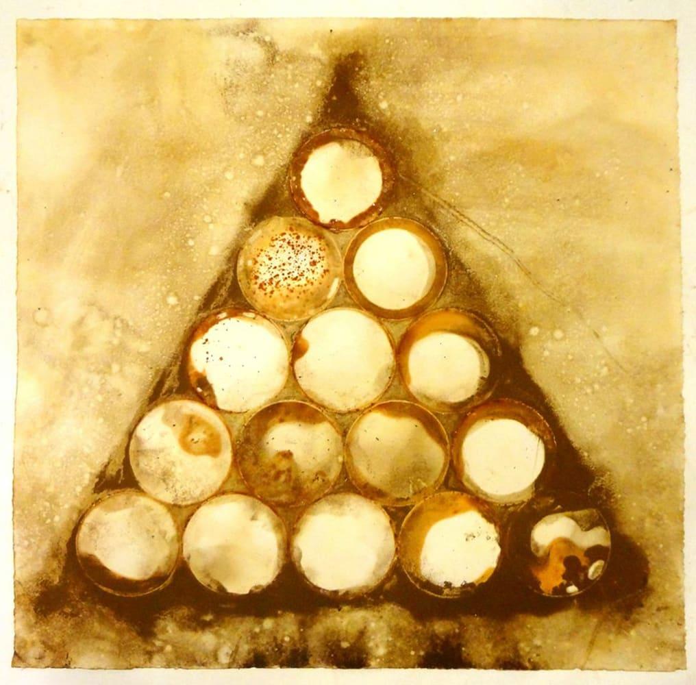 "Jeffrey Allen Price Pyramid (XV) Mixed media on paper 25.5 x 25.5"" unframed 36 x 36"" framed"