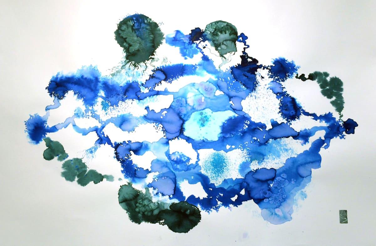 "Allison Svoboda Meditation on Blue II Watercolor on paper 41 x 29.75"" framed"
