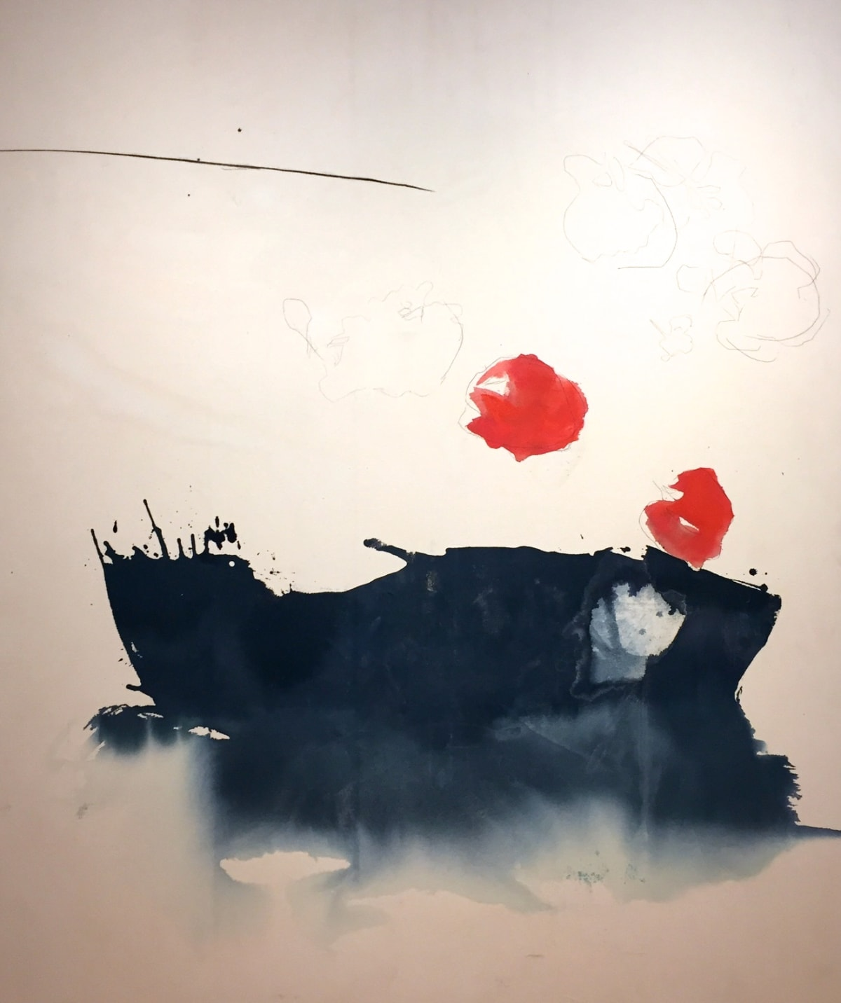 """Melissa Herrington Morning's Red Orb. Held by the Sea.. II Mixed Media on Canvas 60 x 72"""" unframed"""