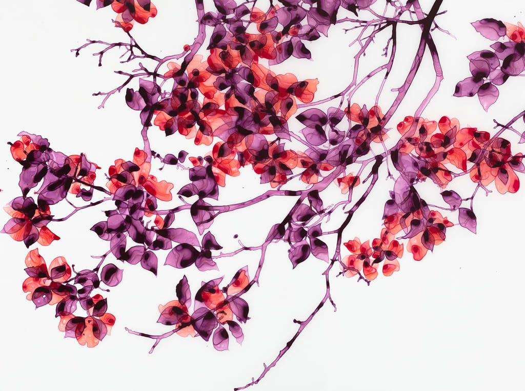 "Jackie Battenfield Sea Glass Blossom Acrylic on Mylar Panel 40 x 30"""