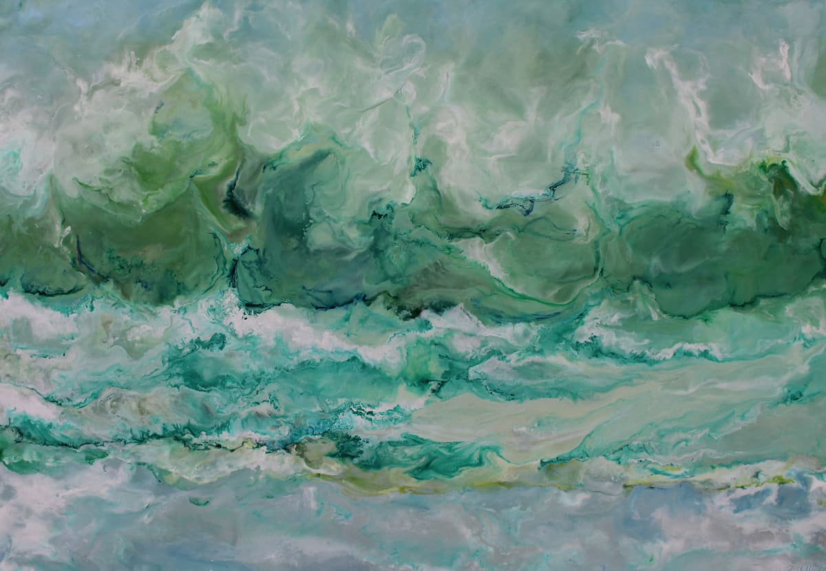 "Ruth Hamill Calm and Clear Encaustic on canvas 34 x 24"" unframed 35.75 x 25.75"" framed"