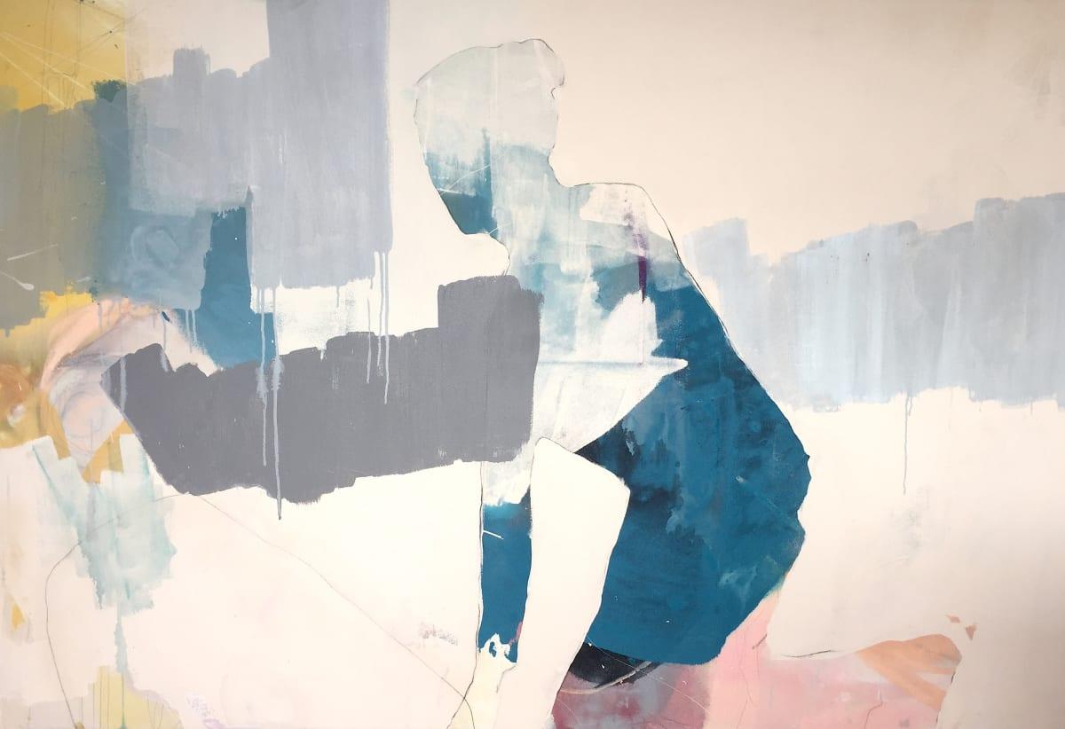 Melissa Herrington Of the Mending Sun. She Bursts- Blue Mixed Media on Canvas