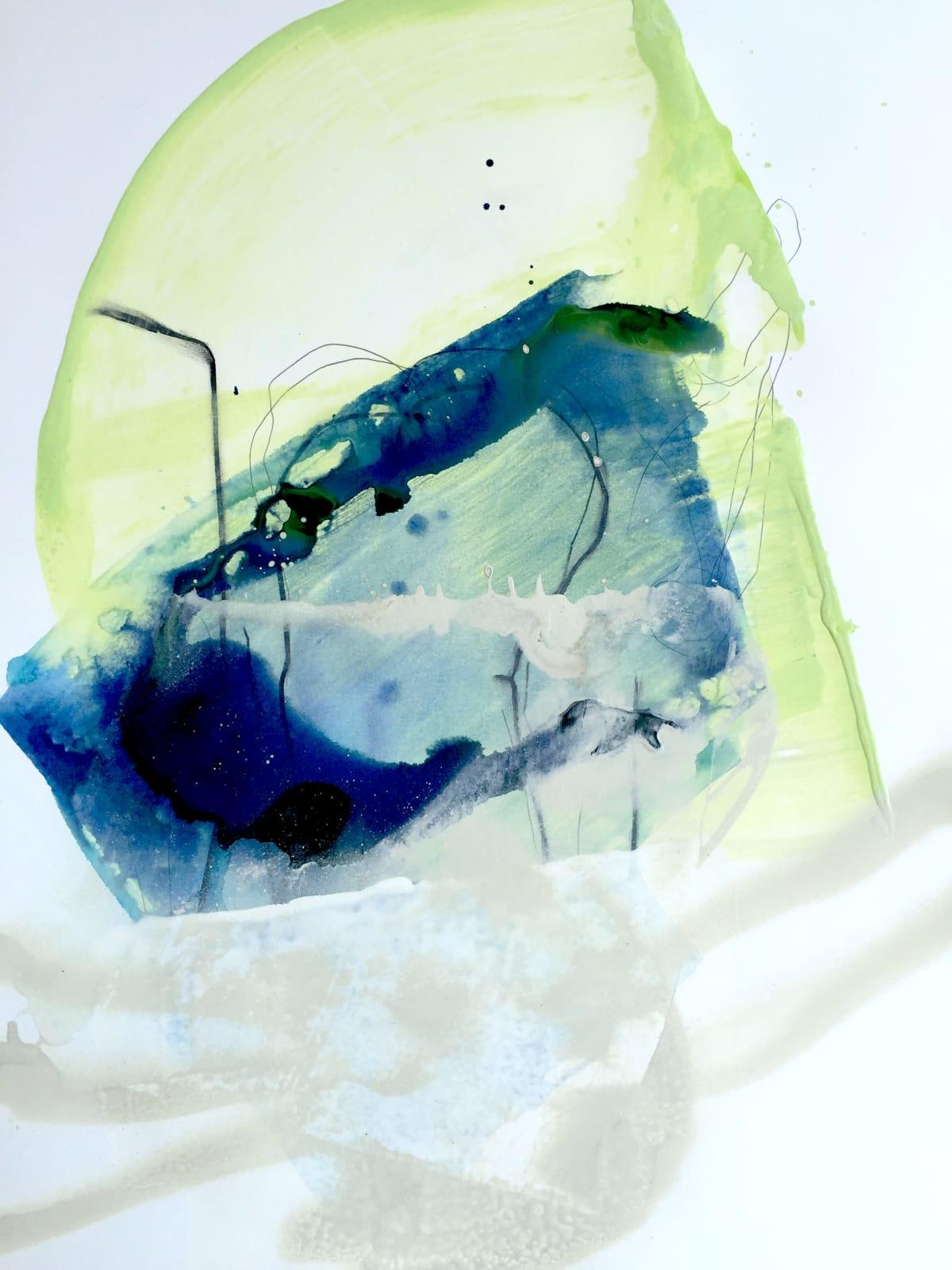 "Melissa Herrington Celestial Oceans of Aquas XII Mixed Media on Paper 18 x 24"" framed"