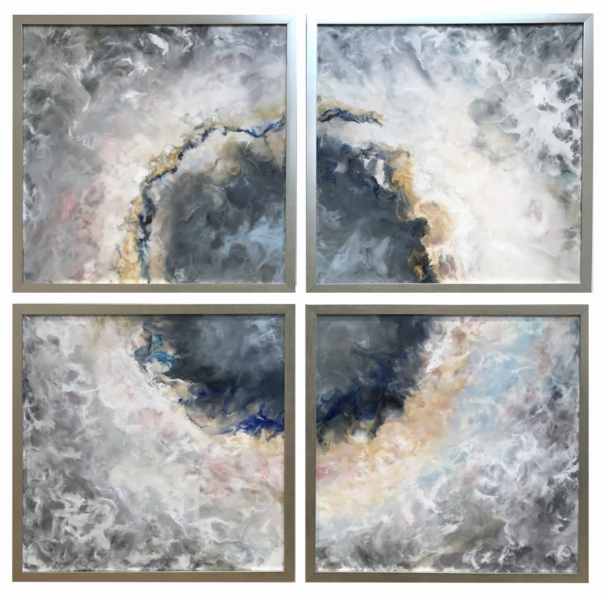 Ruth Hamill Questioning (4 panels) Encaustic on canvas