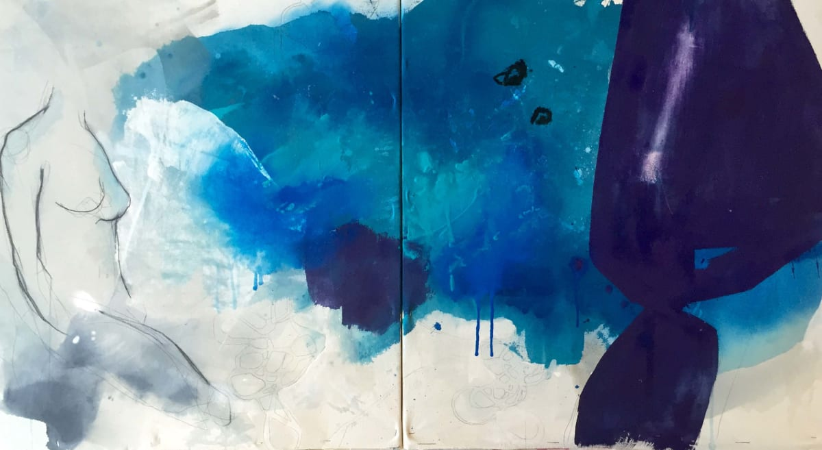 """Melissa Herrington Dance With Her On A Violet Sea (Diptych) Mixed Media on Canvas 60 x 30"""" unframed"""