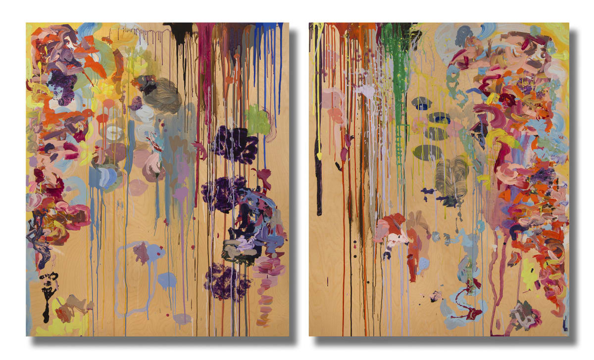 Ginny Sykes All of It (Diptych) Acrylic and collage on wood panels 100 x 60 unframed