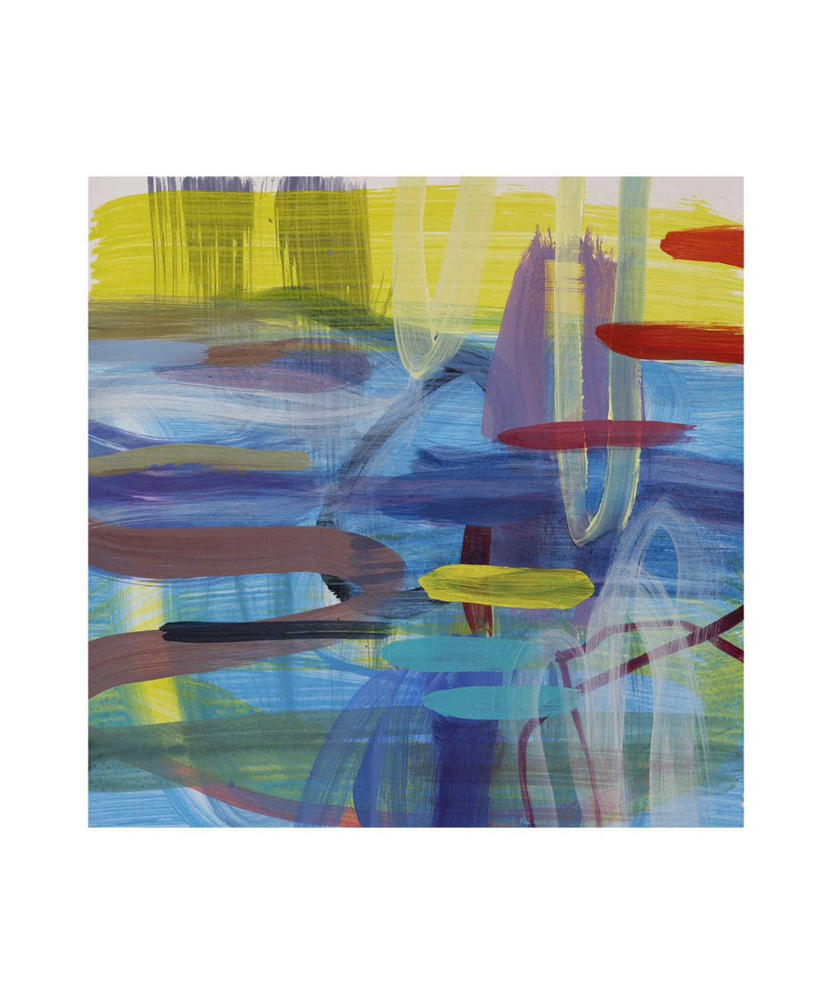 "Ginny Sykes Blues IV Acrylic on paper 12 x 12 unframed, 22.5 x 27.5"" framed"