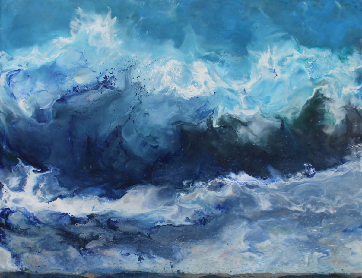 "Ruth Hamill Through the Storm Encaustic and oil on linen 36 x 28"" unframed"
