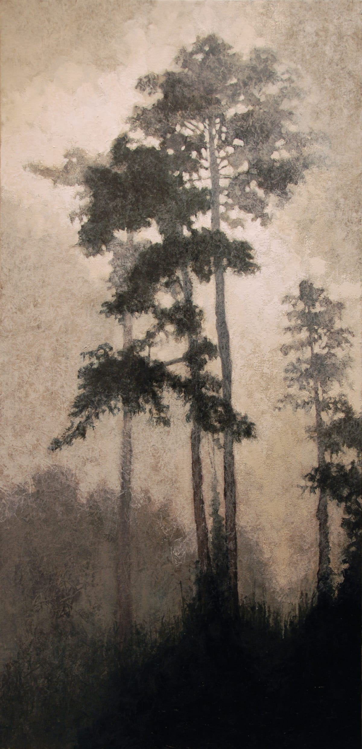 "Gosia Podosek Fog on Kinabatangan I Oil on canvas 32 x 66"" unframed 33.5 x 67.5"" framed"