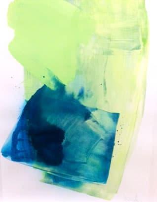 "Melissa Herrington Celestial Oceans of Aqua I Mixed Media on Paper 18 x 24"" framed"