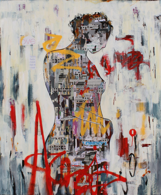 "Ridgers & Cobz Urban Femme I Acrylic on canvas 39"" x 47"" framed"