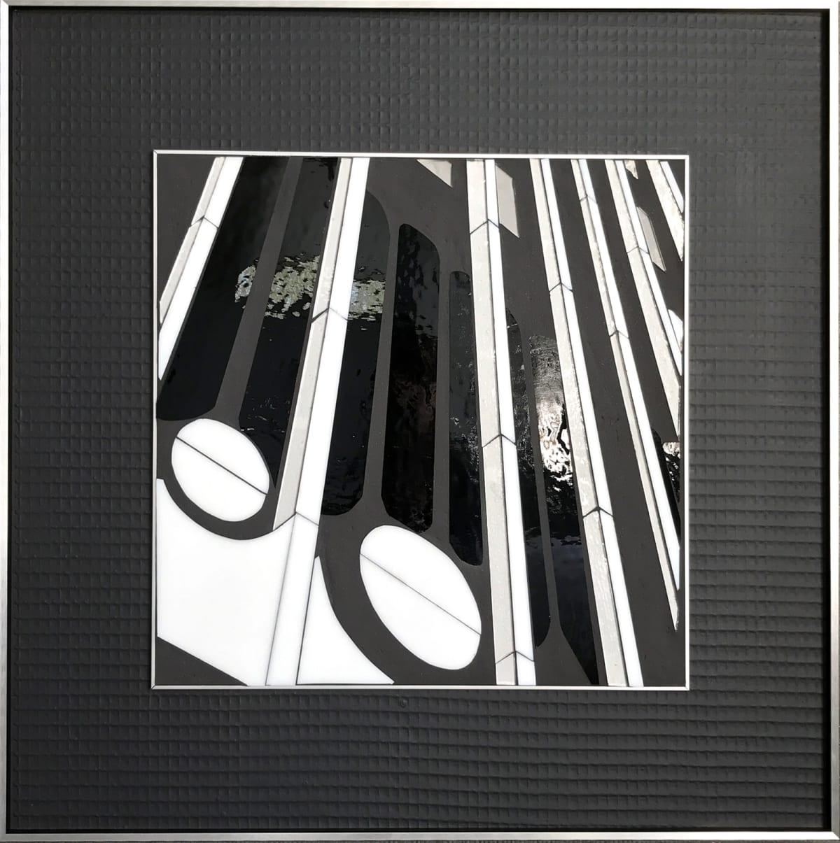 """Heather Hancock Reflect 2.16 (Donatello) Glass/ Mixed Media 22 x 22"""" framed"""