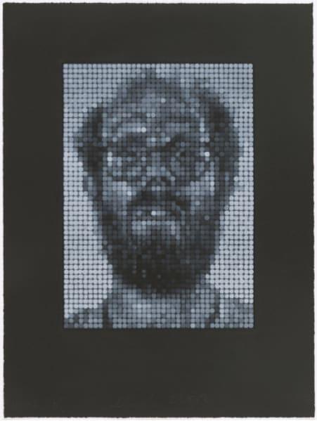 Chuck Close, Self Portrait, White on Black, 1997