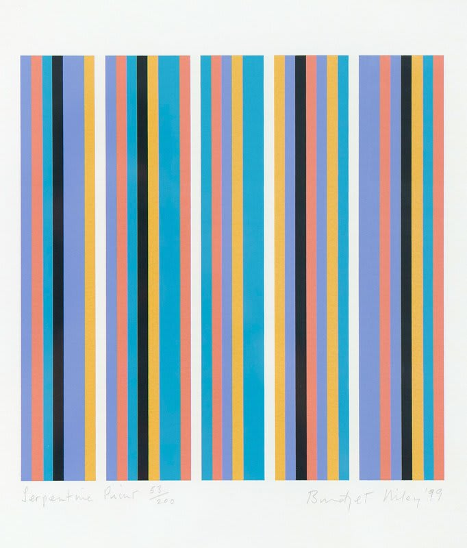 Bridget Riley Serpentine Print , 1999 Original Screenprint in colours, on wove paper, signed by the artist in pencil 255 * 255mms (10 inches * 10 inches) Edition 179 of 200. There were also 20 Artists Proofs