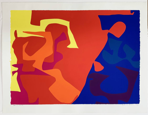 Patrick Heron January 1973 : Plate 5, 1973 Original screenprint, 1973, in colours, signed and dated by the artist in pencil, verso is the Publishers stamp Image: 58.6 x 81.4 cm Sheet: 92.3 x 68 cm Framed: 88 x 111.5 cm Arist proof (Edition of 72, signed and numbered proofs)