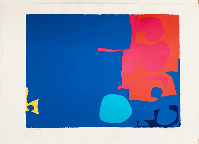 Patrick Heron Interlocking Pink and Vermillion with Blue, 1970 Original screenprint, 1970, in colours, signed and dated by the artist in pencil, verso is the Publishers stamp and an archive number written in pencil: 82.99 Image: 59.4 x 78.7 cm Sheet: 100,5 x 71,5 cm Framed: 88 x 111.5 cm Arist proof (Edition of 72, signed)