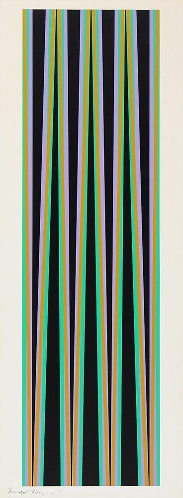 Bridget Riley Elongated Triangle 6, 1971 Original Screenprint in colours, on wove paper, signed and dated by the artist in pencil Height 41.7 in Width 14.8in Edition 15 of 75