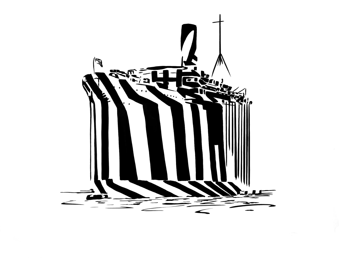 Darren Coffield Ghost Ship, 2019 India ink on paper 69 x 53 cm