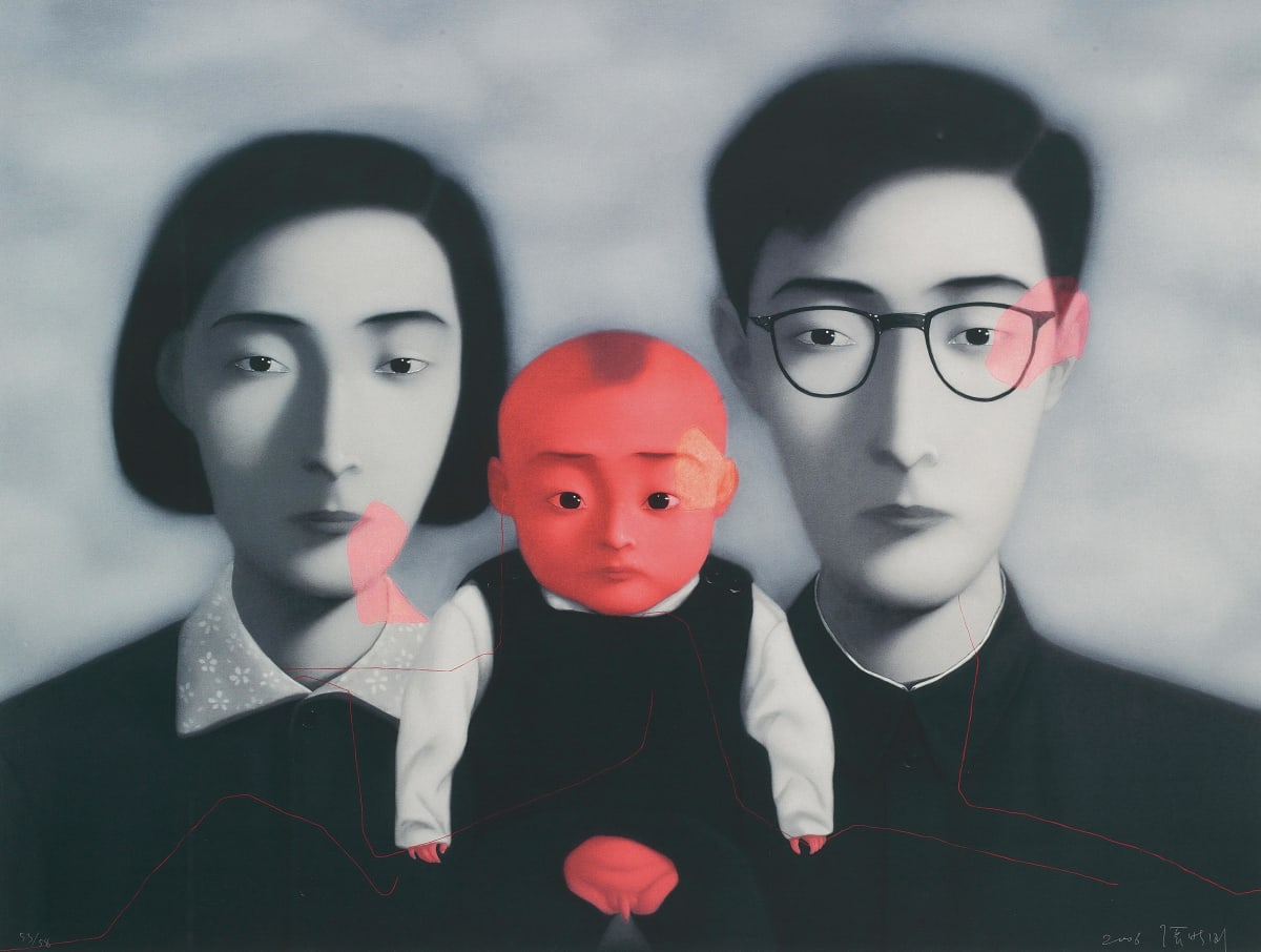 Zhang Xiaogang Bloodline: Big Family, 2006 Lithograph on paper, framed Signed by the artist and dated, lower right on recto 124.5 × 145 cm Edition of 58