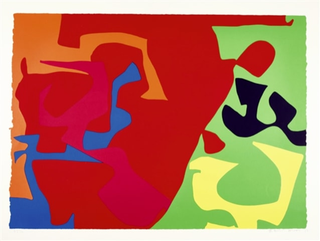 Patrick Heron January 1973 : Plate 7, 1973 Original screenprint, 1973, in colours, signed and dated by the artist in pencil, verso is the Publishers stamp Image: 58.6 x 81.4 cm Framed: 76 x 97.5 cm Arist proof , inscribed lower left (Edition of 72, signed and numbered proofs)