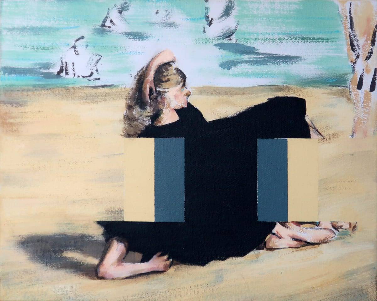 Darren Coffield On the Beach [After Edouard Manet], 2019 Acrylic on canvas 30 x 24 cm
