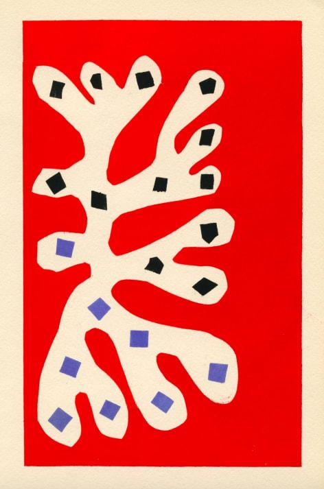 Henri Matisse Algue blanche sur fond rouge, 1953 Pochoir print hand-coloured on paper Printed by Ateliers du Coloris Moderne under the direction of Y. F. Wils Published by Galerie Berggruen, Paris Edition of 1000 Sheet: 15 x 9.5 cm Framed: 32 x 24.3 cm
