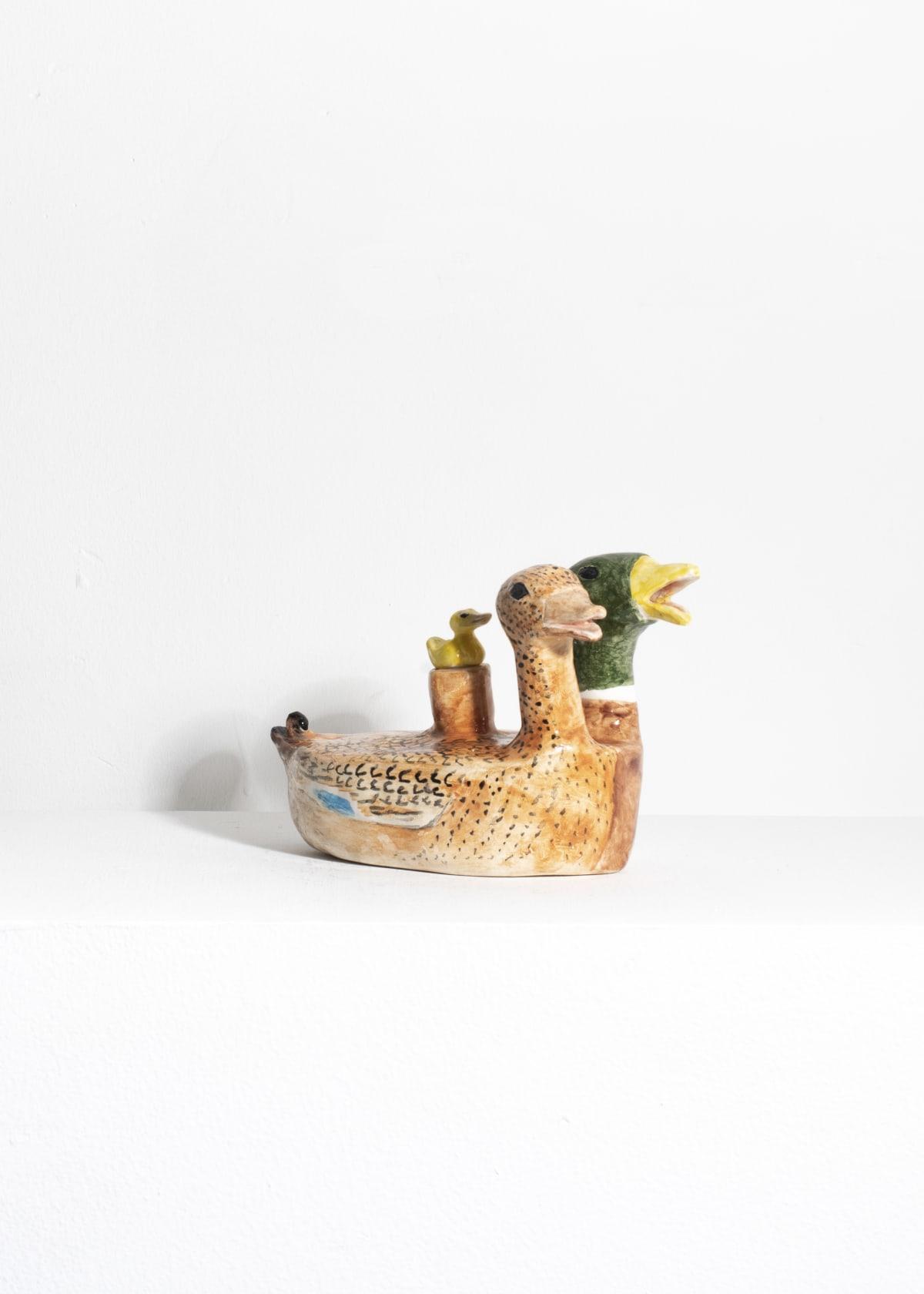 Prue Piper Aqua Manile (Indonesian duck) Decorated earthenware Height 13 cm width 19 cm
