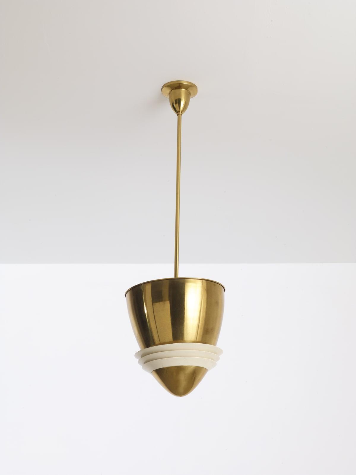 Italian Ceiling lamp c.1930s Brass, painted aluminium 102 x 31 cm