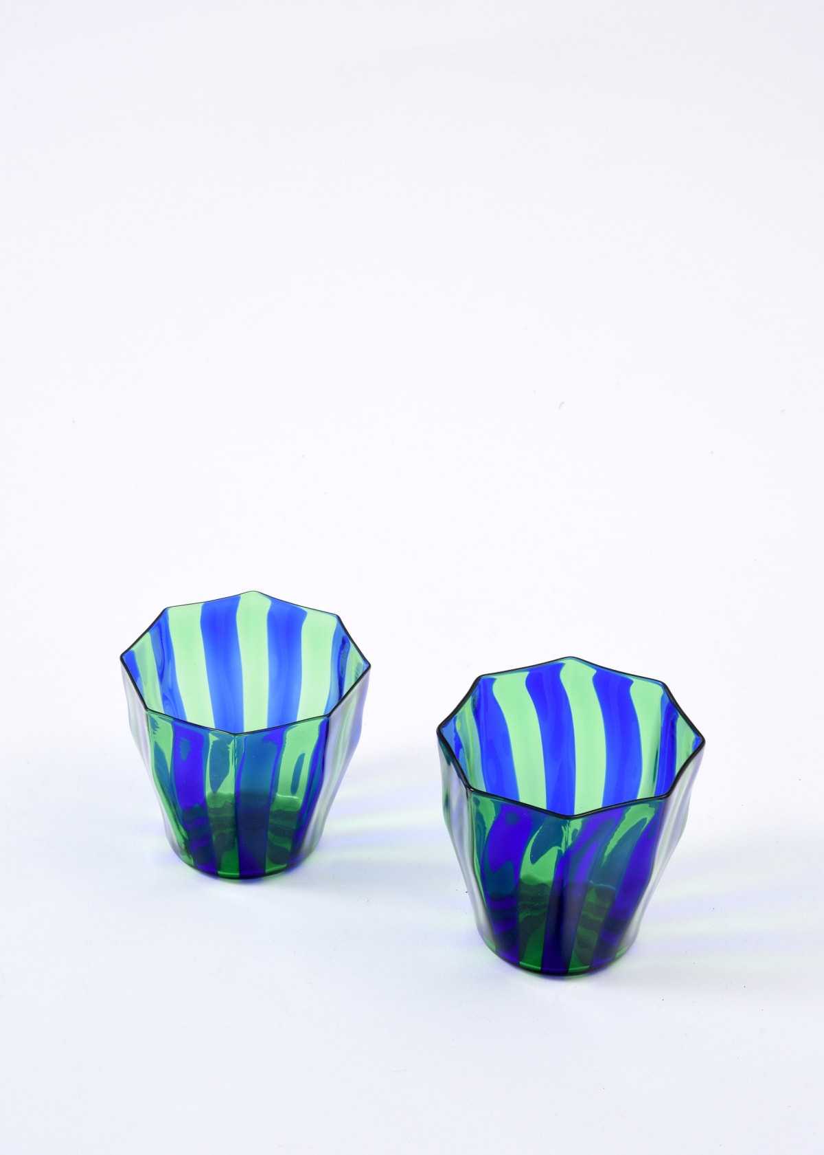 Campbell-Rey Green and blue 'Rosanna' Murano tumbler Coloured Murano glass Height 8 cm Available in red and amber, red and blue, amber and turquoise, green and blue, green and turquoise. Made to order, lead time 4-6 weeks