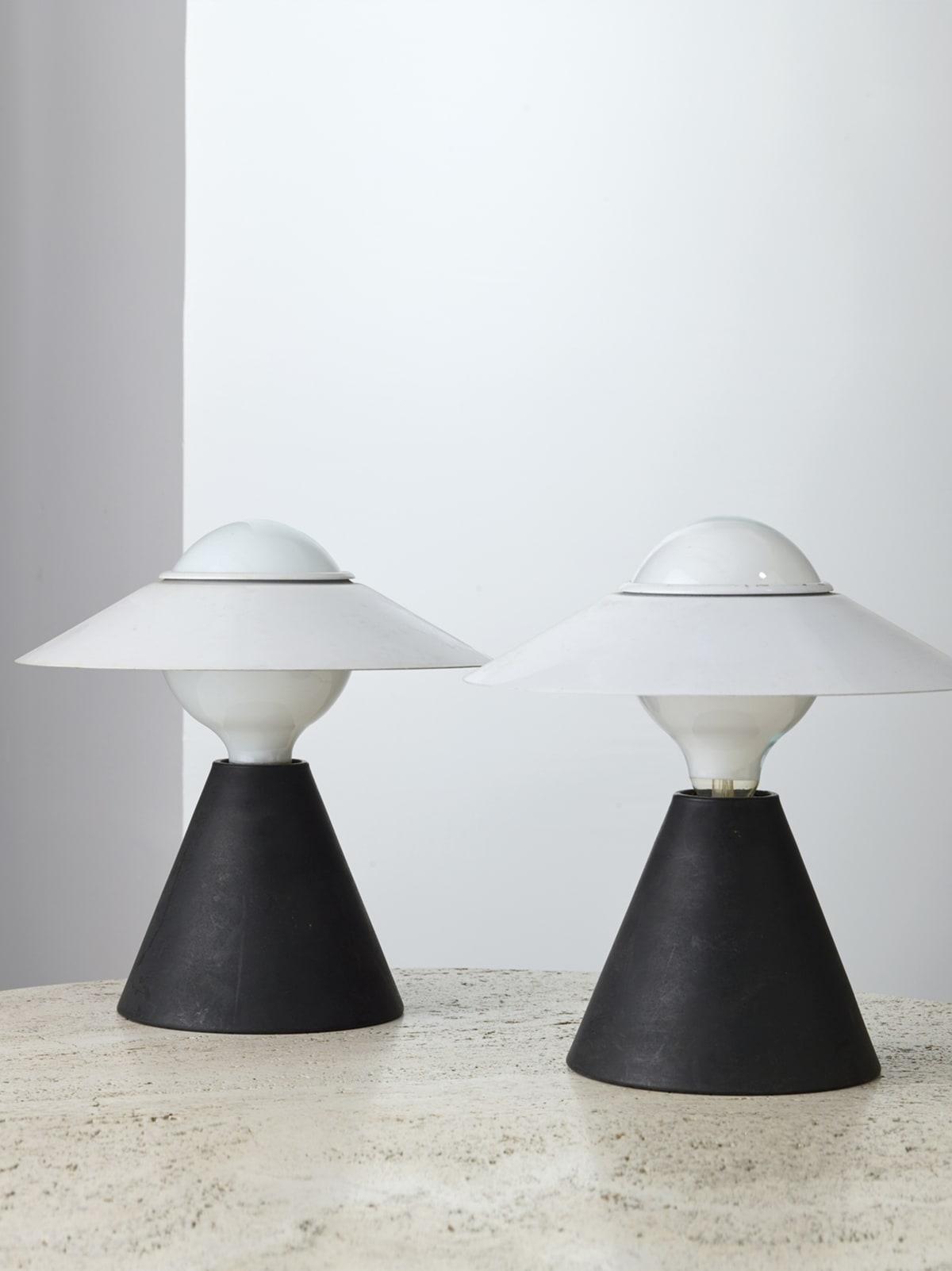 Stilnovo Pair of table lamps c.1968 Painted aluminium 27 x 27 cm (each)