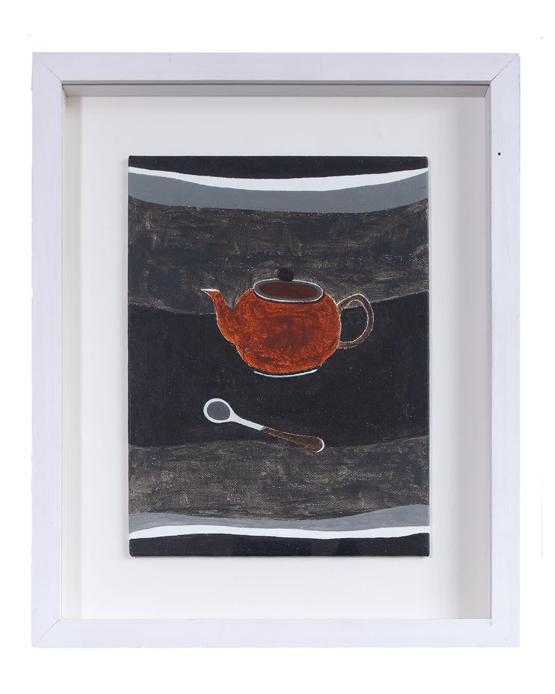 Rachel Nicholson Red on Black 1991 Oil on board h24 x w29.5 cm