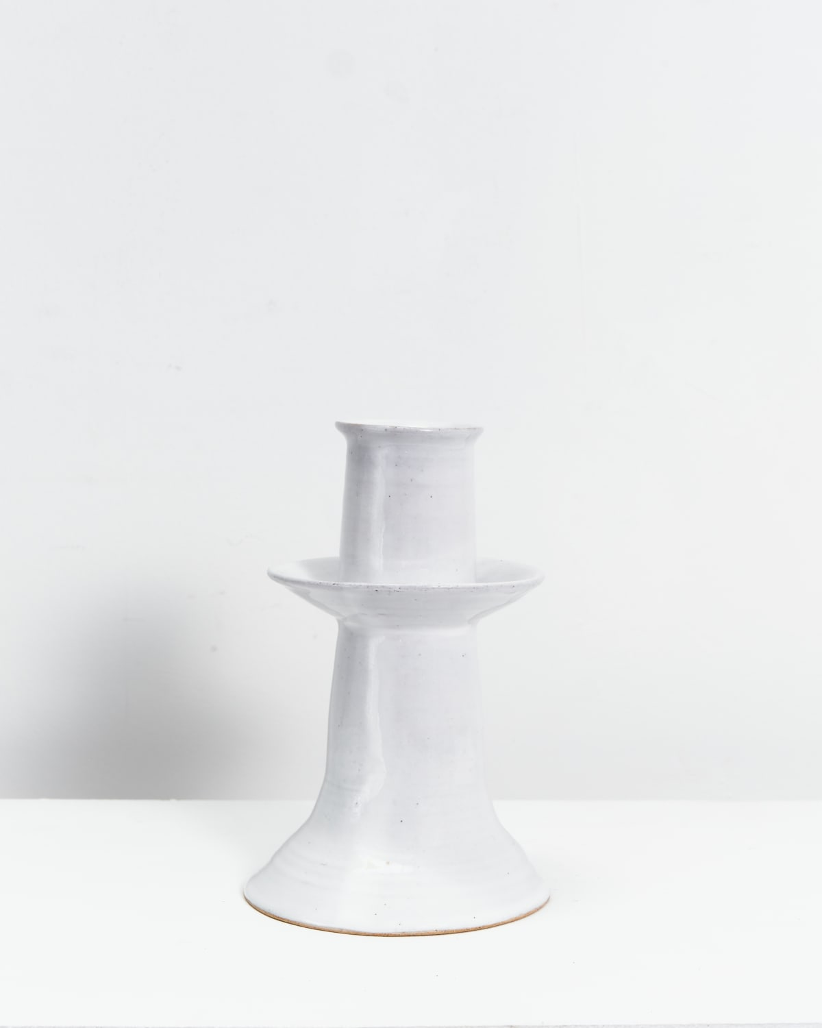Ali Hewson Tiered Candlestick Stoneware clay painted with white slip 19 x 12 cm