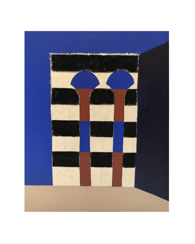 Wayne Pate Par La Porte Acrylic And Canvas Collage On Linen 61 x 50 cm