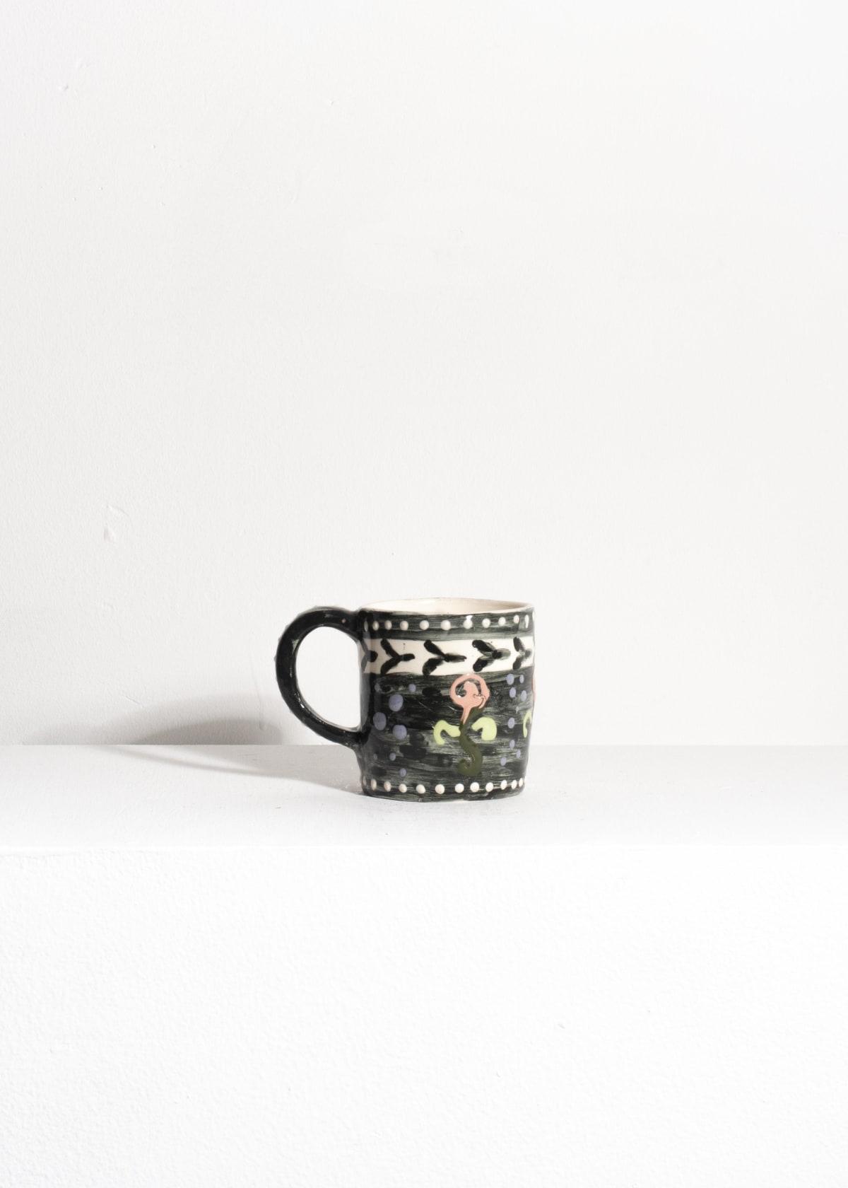 Prue Piper Coffee mug Slip decorated earthenware Height 8 cm, diameter 7 cm
