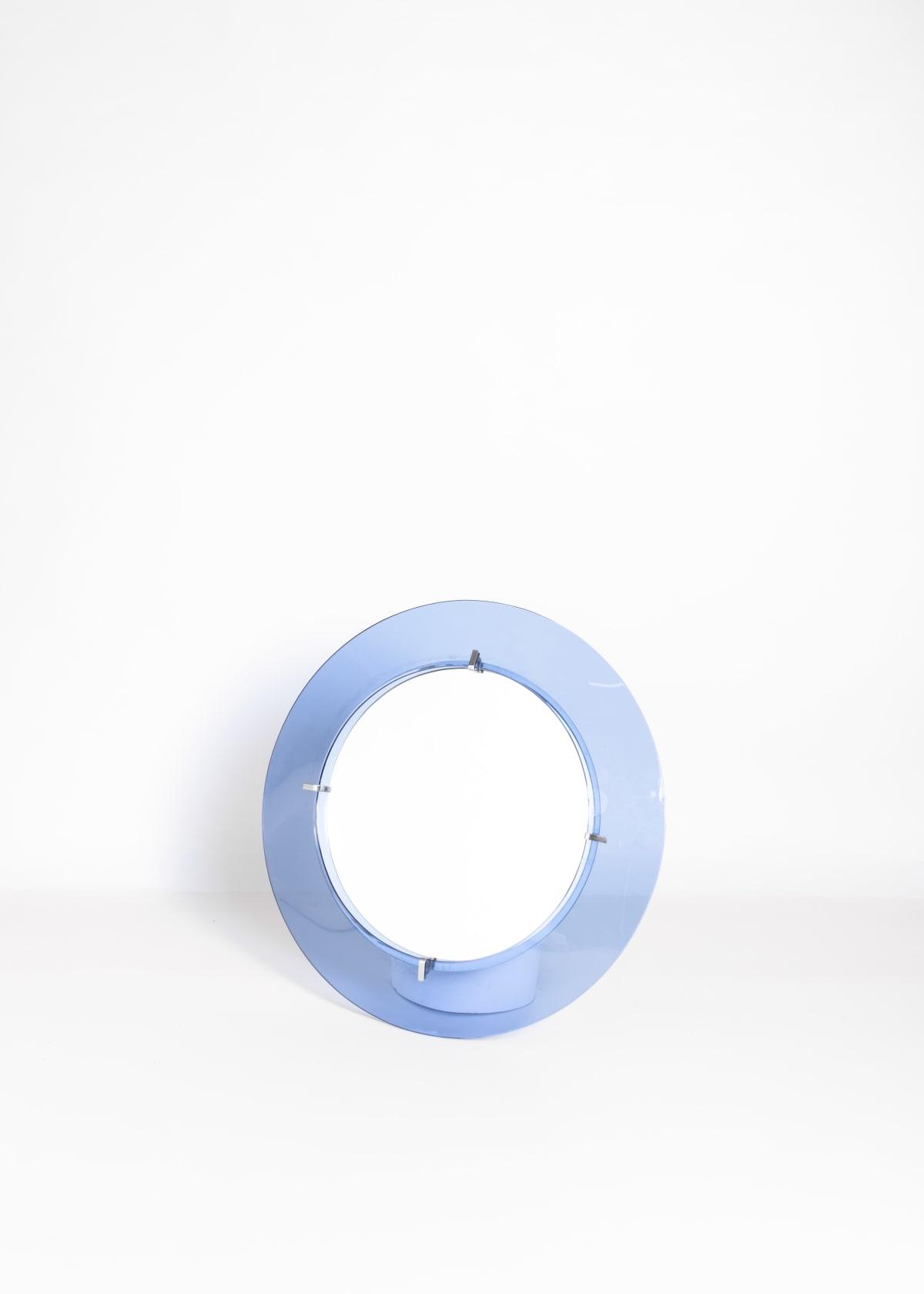 Fontana Arte Round blue framed mirror Glass