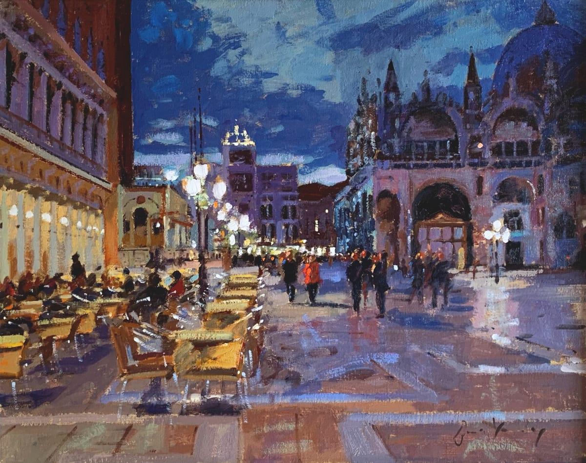 Bruce Yardley, La Piazzetta at Night, Looking North, 2018