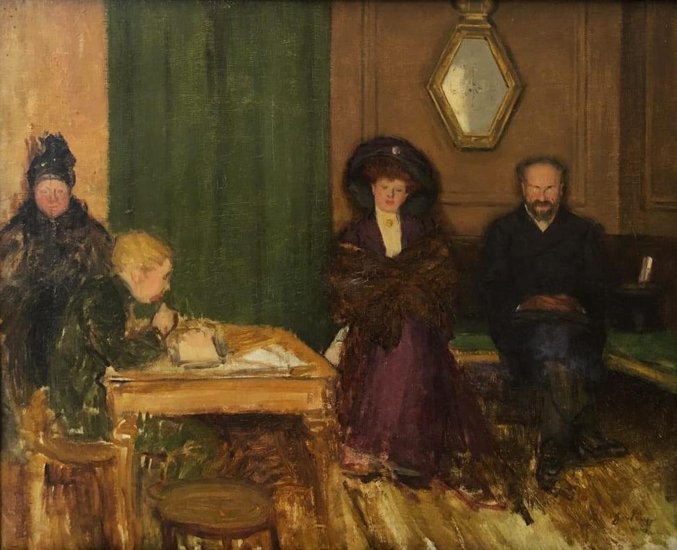Jacques Wely Les devoirs, circa 1900 Huile sur toile 61 x 50 cm Signé en bas à droite